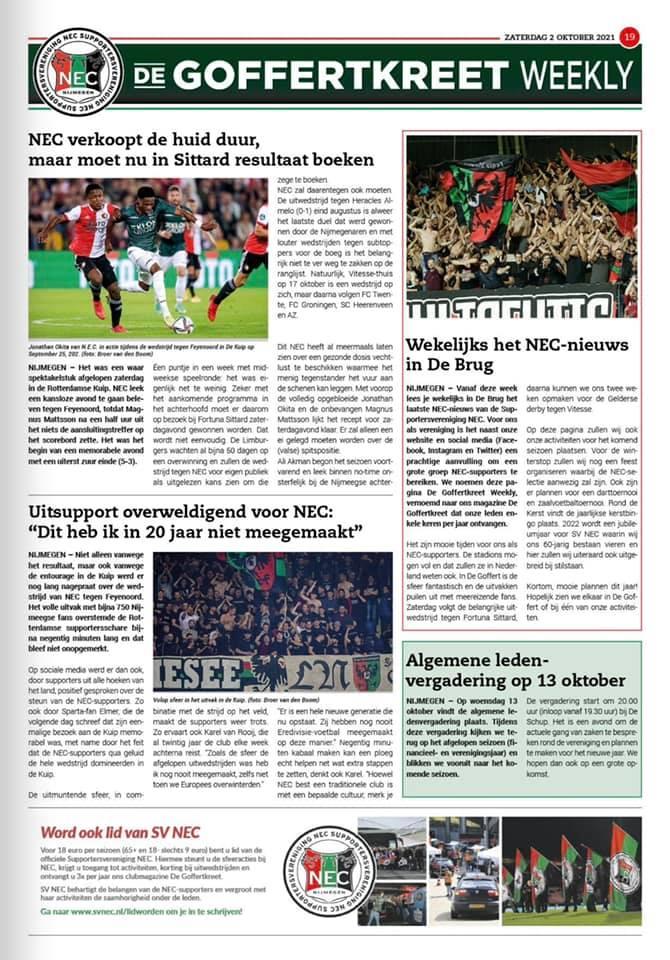 Afbeelding voor Wekelijks het NEC-nieuws in De Brug!